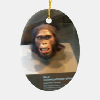 Australopithecus africanus; museum exhibit Double-Sided oval ceramic christmas ornament