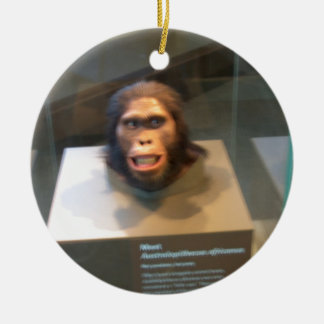Australopithecus africanus; museum exhibit Double-Sided ceramic round christmas ornament