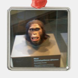 Australopithecus africanus; museum exhibit square metal christmas ornament