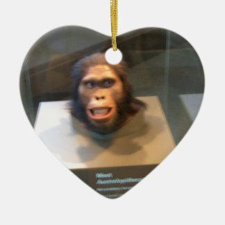 Australopithecus africanus; museum exhibit Double-Sided heart ceramic christmas ornament