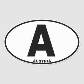 Austria A Oval Euro Style Identity Code Letters Oval Sticker