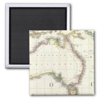 Austria and Indonesia Engraved Map 2 Inch Square Magnet