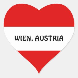 AUSTRIA: Bandera de Austria--Wien Pegatina En Forma De Corazón
