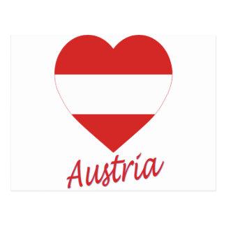 Austria (civil) Flag Heart Postcard