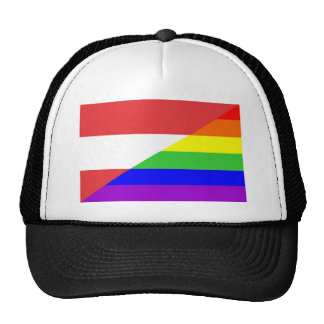 austria country gay proud rainbow flag homosexual trucker hat