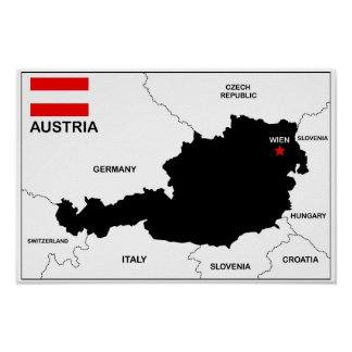 austria country political map flag poster
