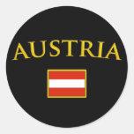 Austria de oro pegatinas redondas