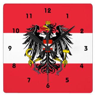 austria emblem square wall clock