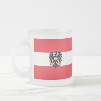 Austria Flag Frosted Glass Coffee Mug