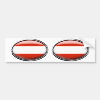 Austria Flag Glass Oval Bumper Sticker