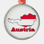 Austria Flag in Map Christmas Ornaments