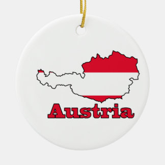 Austria Flag in Map Double-Sided Ceramic Round Christmas Ornament