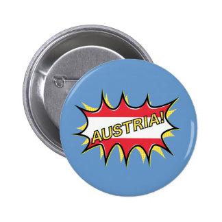 Austria Flag Kapow Comic Style Star Pinback Button
