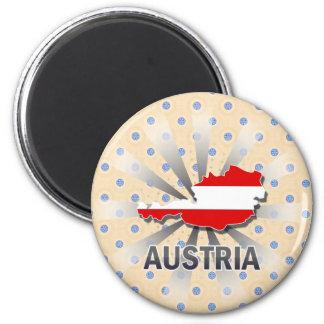 Austria Flag Map 2.0 2 Inch Round Magnet