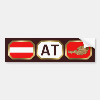 Austria Flag Map Code Bumper Sticker Car Bumper Sticker