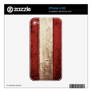 Austria Flag on Old Wood Grain iPhone 4 Decals