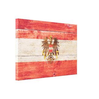 Austria Flag on Wood — Correct Proportion Canvas Print