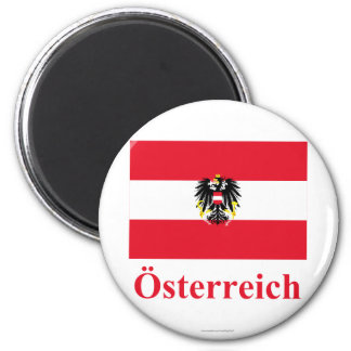 Austria Flag with Name in German 2 Inch Round Magnet
