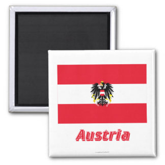 Austria Flag with Name Magnet