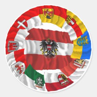 Austria & its Laender Waving Flags Classic Round Sticker