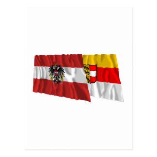 Austria & Kaernten Waving Flags Postcard