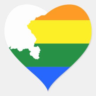 Austria LGBT Flag Map Heart Sticker
