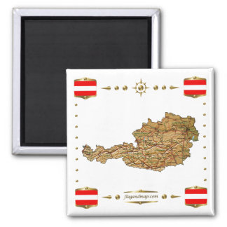 Austria Map + Flags Magnet