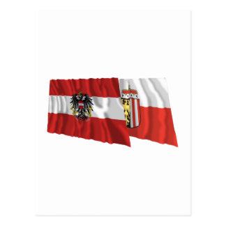 Austria & Oberoesterreich Waving Flags Postcard