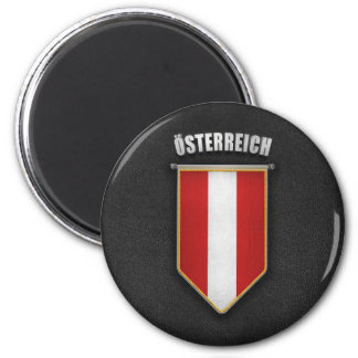 Austria Pennant with high quality leather look 2 Inch Round Magnet