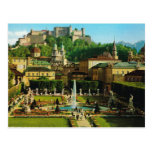 Austria, Salzburg, castillo y jardines Tarjeta Postal