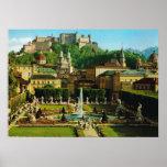 Austria, Salzburg, Schloss Hollenberg, jardines Póster