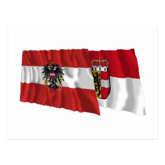 Austria & Salzburg Waving Flags Postcard