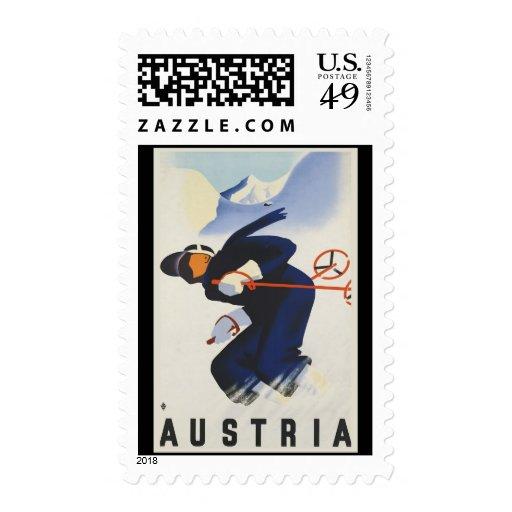 Austria Ski Postage Stamp