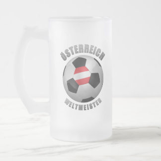 AUSTRIA SOCCER CHAMPIONS FROSTED GLASS BEER MUG