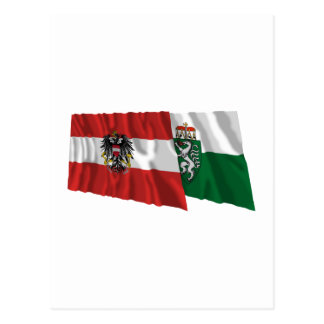 Austria & Steiermark Waving Flags Postcard