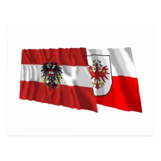 Austria & Tirol Waving Flags Postcard