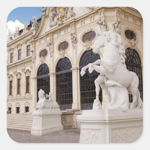 Austria, Viena, palacios del belvedere, superiores Calcomanía Cuadradas Personalizadas