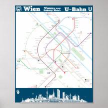 Subway Map Vienna Austria.Vienna Austria Map Posters Photo Prints Zazzle