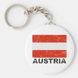 Austria Vintage Flag Basic Round Button Keychain