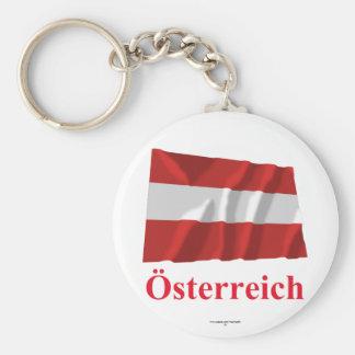 Austria Waving Civil Flag with Name in German Basic Round Button Keychain