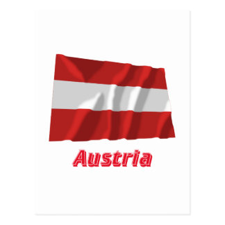 Austria Waving Civil Flag with Name Postcard