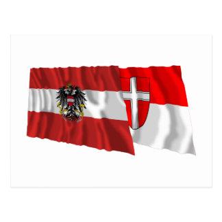 Austria & Wien Waving Flags Postcard
