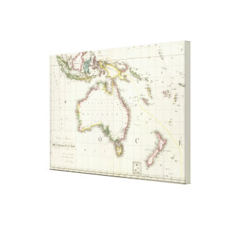 Austria y mapa grabado Indonesia Impresiones En Lienzo Estiradas