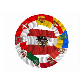 Austria y sus Lander que agitan banderas Tarjetas Postales