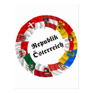 Austria y sus Lander que agitan banderas Tarjeta Postal