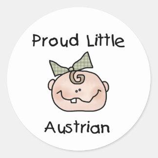 Austriaco orgulloso de la niña pegatina redonda