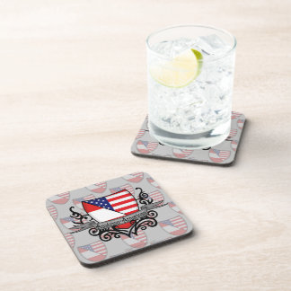 Austrian-American Shield Flag Beverage Coaster