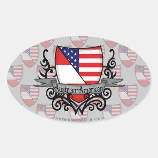 Austrian-American Shield Flag Oval Sticker