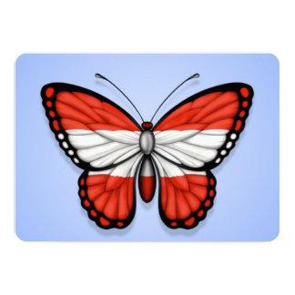 """Austrian Butterfly Flag on Blue 5"""" X 7"""" Invitation Card"""