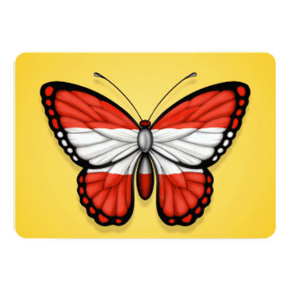 "Austrian Butterfly Flag on Yellow 5"" X 7"" Invitation Card"